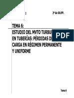 06 TEMA 6 Estudio Del Mvto Turbulento en Tuberias, Perdida de Carga en Reg Permanente y Uniforme
