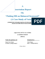 Dissertation Report on Putting HR on Balanced Scorecard a Case Study of Verizon1
