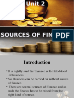 2.1 Sources of Finance
