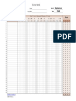 Class Attendance Monthly Tracker Excel Format Download