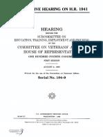 HOUSE HEARING, 104TH CONGRESS - LEGISLATIVE HEARING ON H.R. 1941