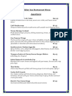 Holiday Inn Restaurant Menu 2013