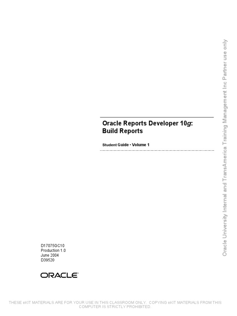 Oracle reports developer 10g build reports ed 1 student guide pl oracle reports developer 10g build reports ed 1 student guide plsql oracle database fandeluxe Choice Image