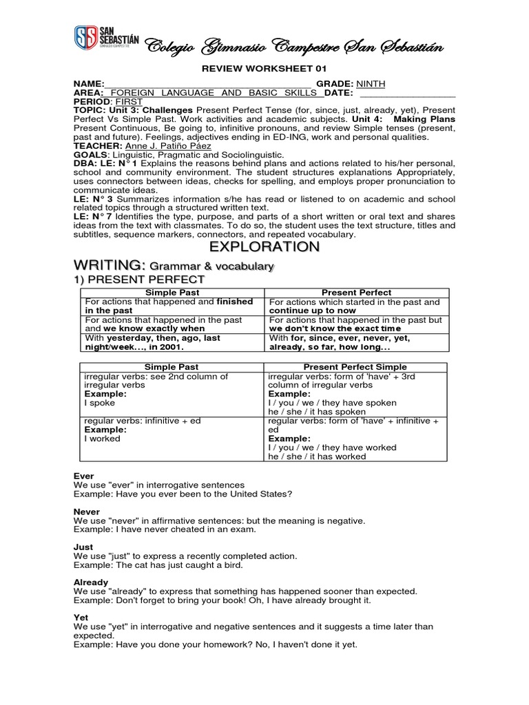 worksheet Verb Tense Review Worksheet review worksheet 1 ninth grade perfect grammar grammatical tense