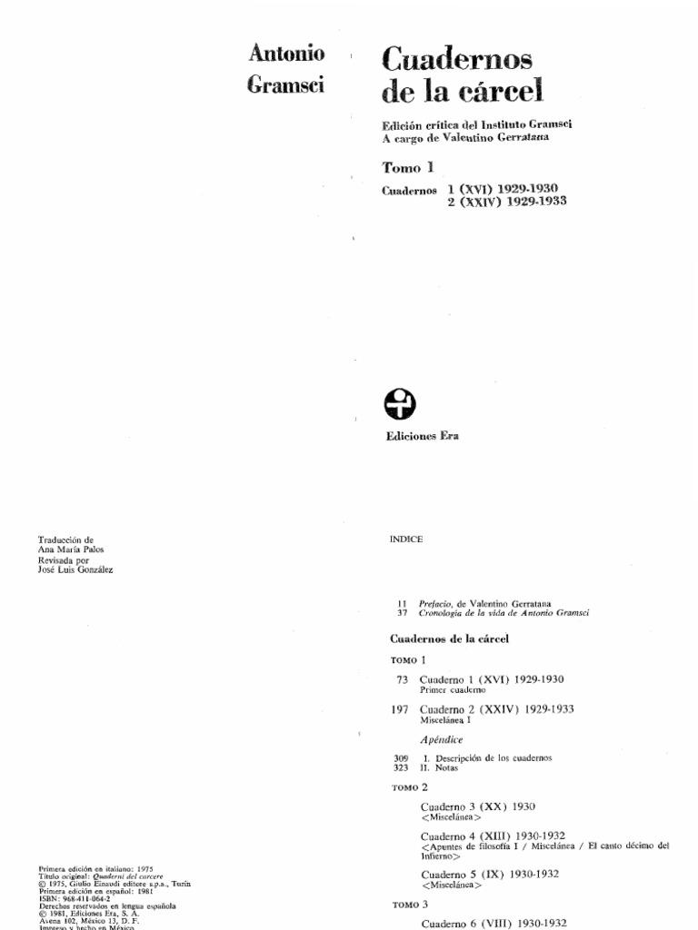 Gramsci Cuadernos de La Carcel Tomo 1