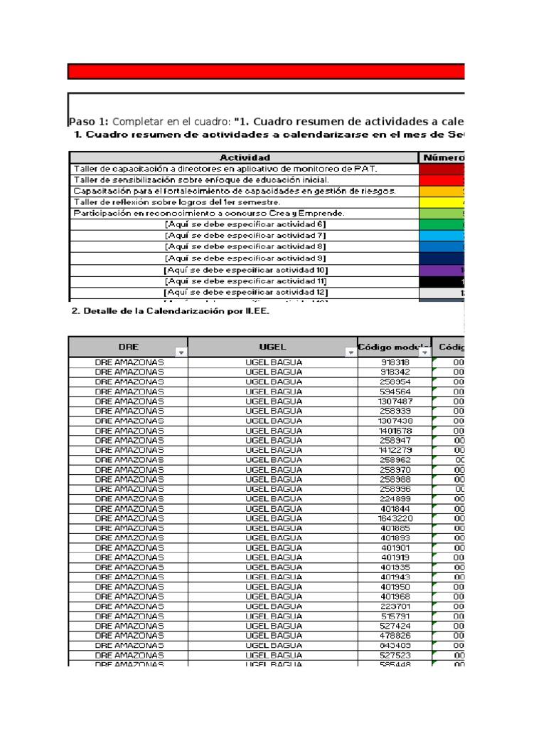 Herramienta para calendarización - Plantilla - Directores por IIEE ...