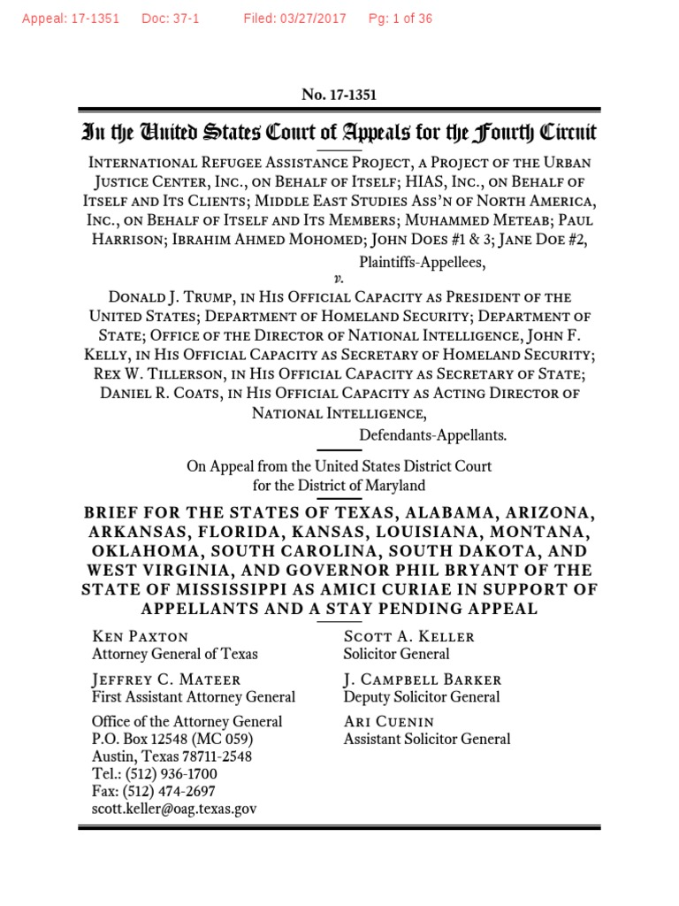 Brief of texas and 12 other states in irap v trump ca4 united brief of texas and 12 other states in irap v trump ca4 united states government travel visa 1betcityfo Choice Image