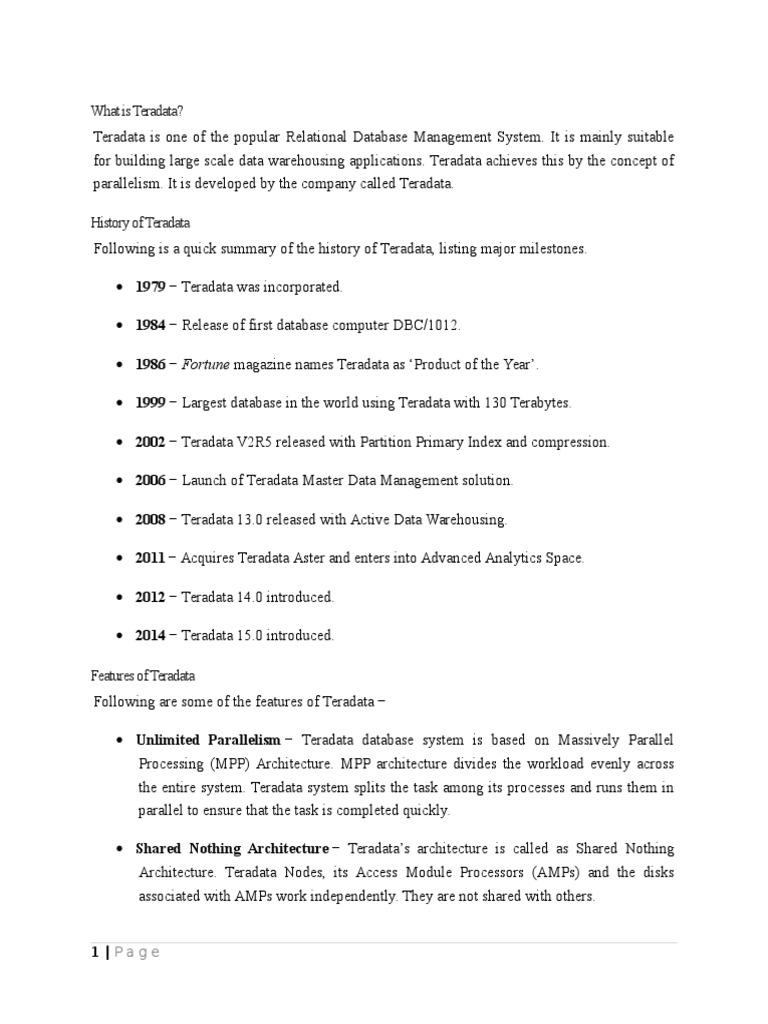 teradata basics pdf free download