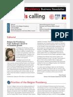 Brussels calling, Belgian EU Presidency, Business Newsletter FEB, 13/07/2010, Issue 1
