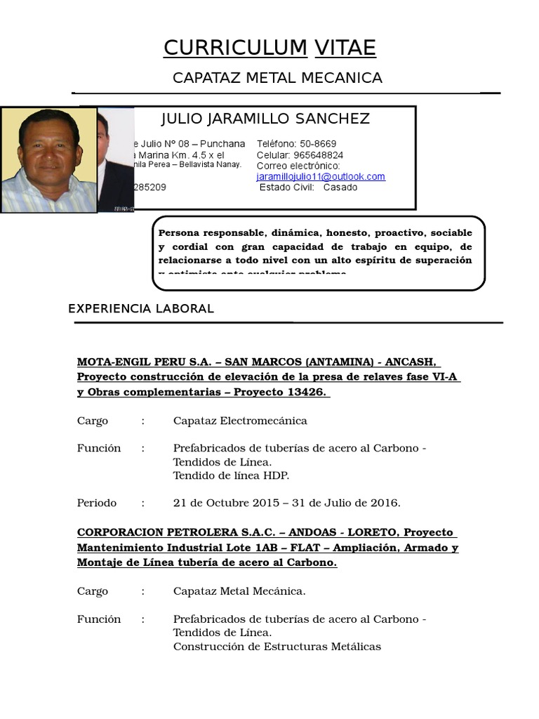 Excelente Ejemplo De Curriculum Vitae Del Capataz Bosquejo - Ejemplo ...