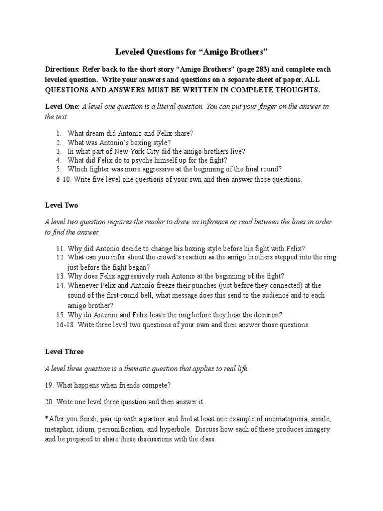 Leveled Questions for Amigo Brothers.docx