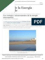 Las Ventajas e Inconvenientes de La Energía Mareomotriz – El Blog de La Energía Sostenible