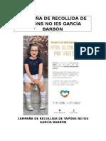 Campaña de recollida de tapóns para Valeria
