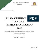 Plan Curricular Anual Bimestralizado (Primaria) 2017 Tercero