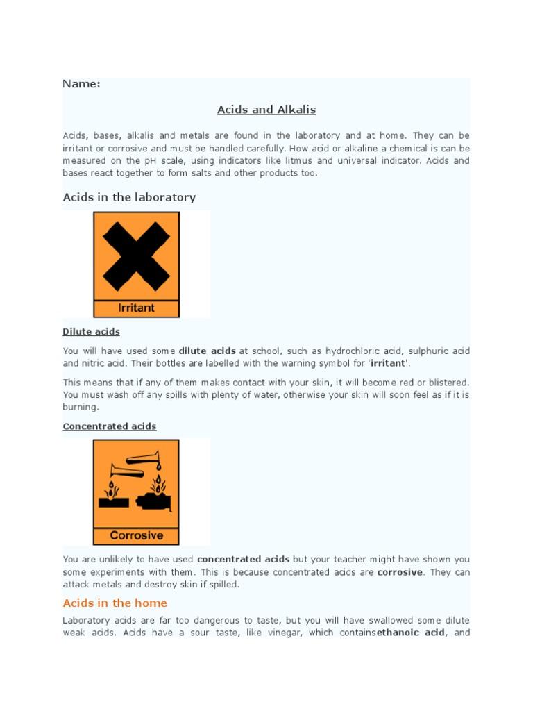 Acids and Alkalis Notes | Acid | Ph