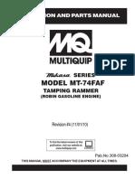 Manual de operación y partes de MT74FAF