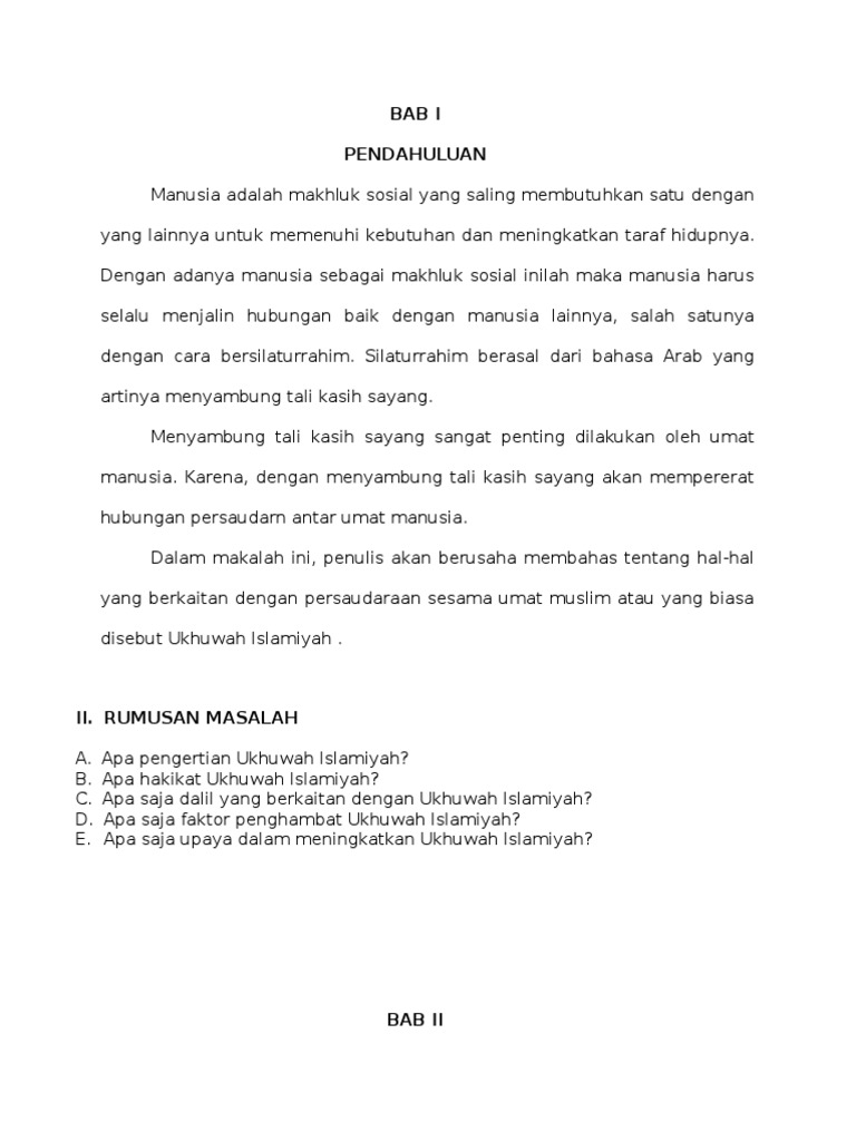 Makalah Ukhuwah Islamiyah
