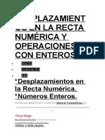 Desplazamientos en La Recta Numérica y Operaciones Con Enteros