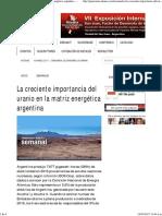 2017-03-16 - PanMin- Uranio en Matriz Energética Argentina
