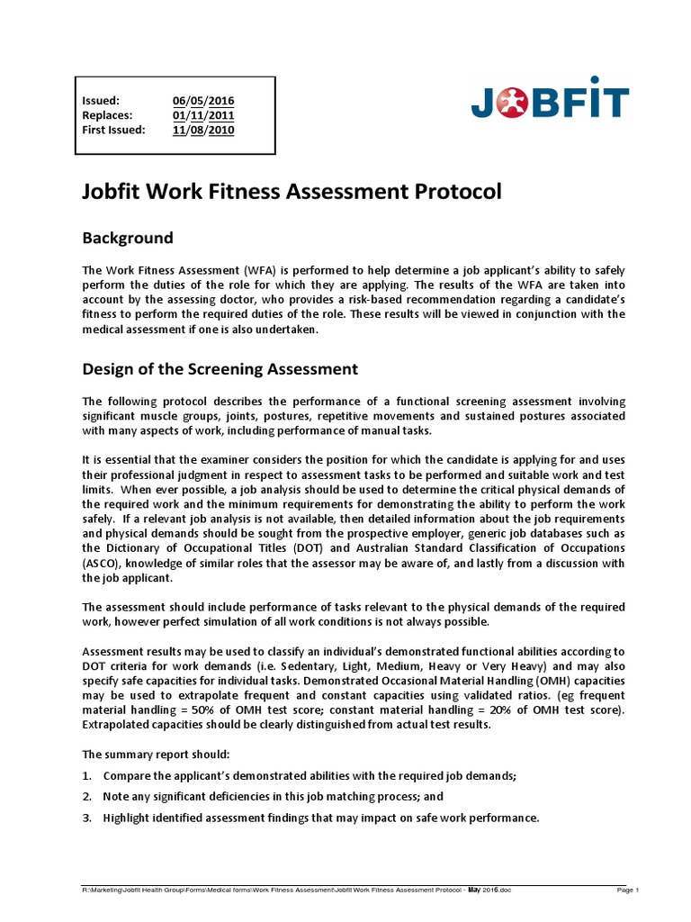 jobfit work fitness assessment protocol may 2016 pdf heart rate