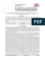 The Effect of Personality Traits on Social Identification, Transformational Leadership, and Employees Performance (Studies in Provincial Government Southeast Sulawesi)