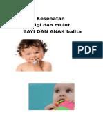 Kesehatan Gigi Dan Mulut Bayi Dan Anak Balita