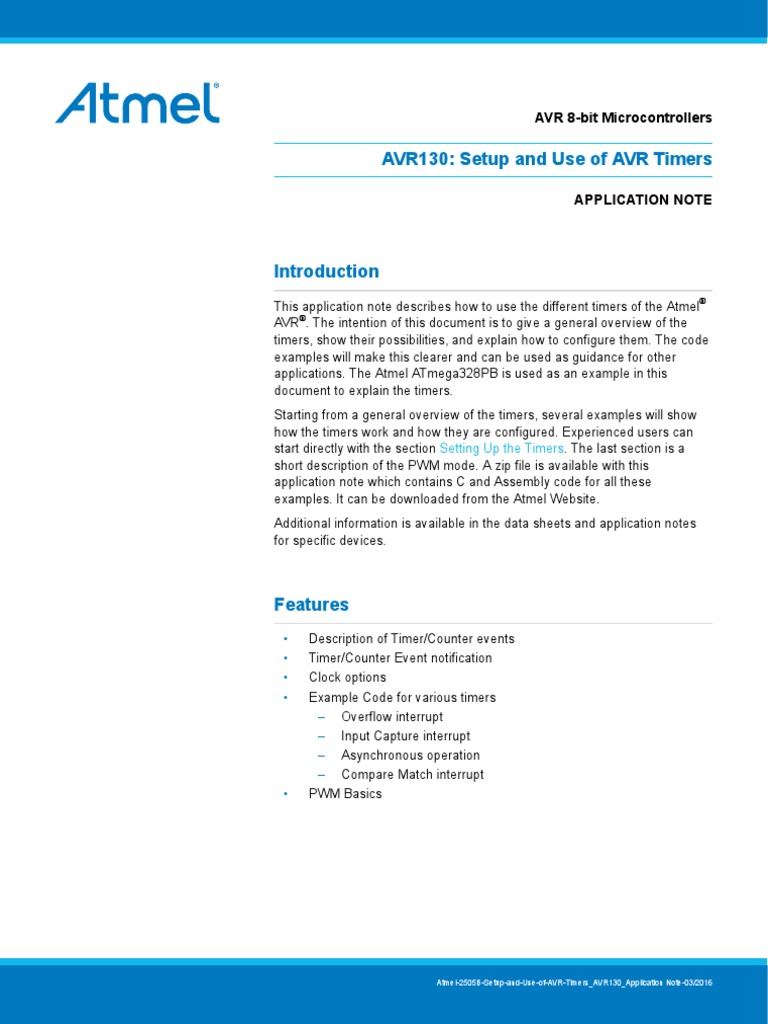 Atmel 2505 Setup and Use of AVR Timers ApplicationNote