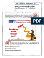 Syndicate Bank Career 2017| Online Application for Manager & Technical Officer Posts