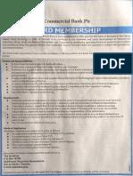 DCB Bank Board Membership