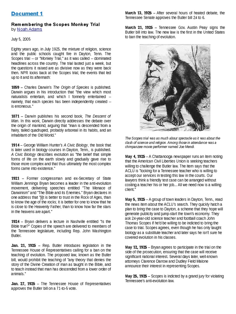 The Scopes Monkey Trial Students Worksheet Trials Religion And