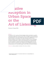 Creative Reception in Urban Space or the Art of Listening