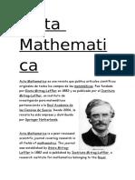 Acta Mathematica Paula Marti_nez