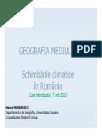1_Curs 1- Introductiv_Schimbarile Climatice Din Romania-2015-2016