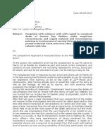 Complaint from Poonam Agarwal regarding unnatural death of Gunner Roy Mathew