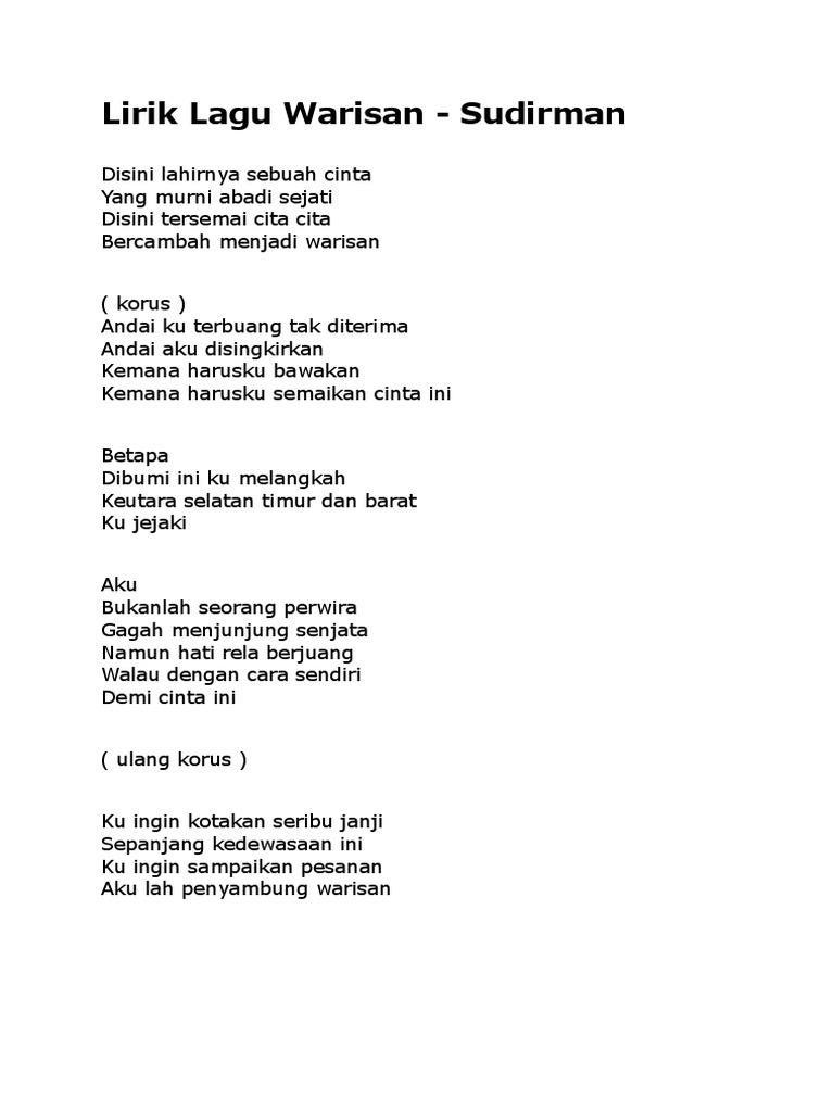Lirik Lagu Warisan
