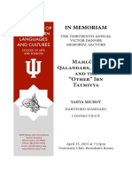 "Yahya Michot, ""Mamlūks, Qalandars, Rāfidīs, and the 'Other' Ibn Taymiyya"""