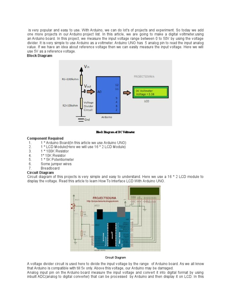 Dec Arduino Electronic Circuits Simple Digital Voltmeter Circuit Diagram