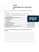 Pretest Post Test Coaching and Mentoring for Tfm School