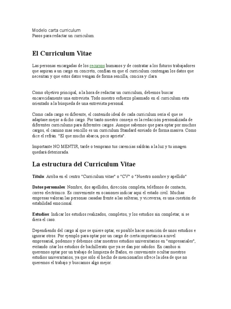 Modelo Carta Curriculum