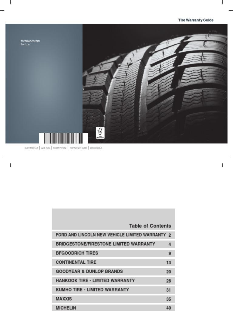 2013 2014 2015 Ford Lincoln Tire Warranty Version 4 Frdwa En