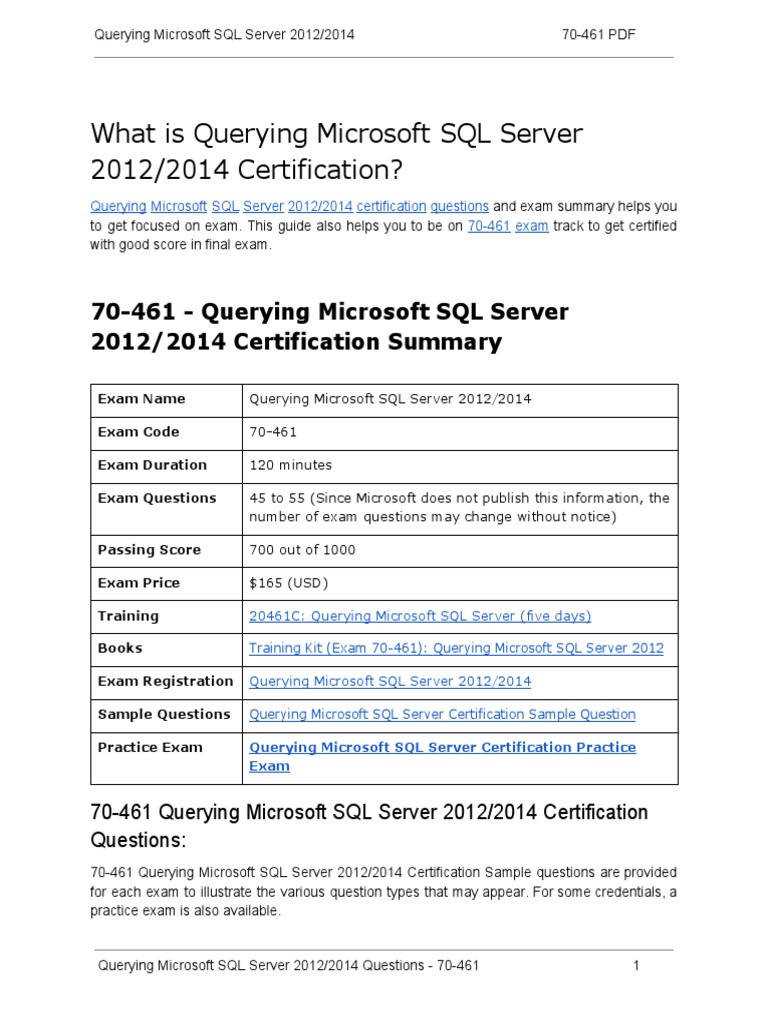 70 461 Certification Guide And How To Pass Exam On Querying