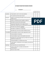 science 9 inquiry project peer evaluation checklist