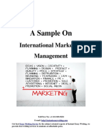Sample Report on International Marketing Management By Instant Essay Writing