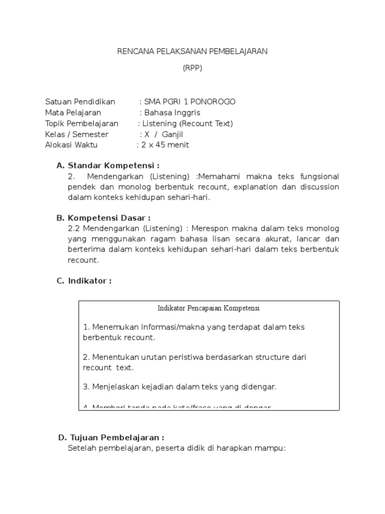 Image Result For Contoh Teks Recount Pendeka