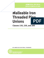 ASME B16.39 (2014) Malleable Iron Threaded Pipe Unions