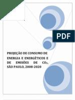 Projeção de Consumo de Energia e Energéticos e de Emissões de CO2, São Paulo, 2008-2020 | Secretaria de Saneamento e Energia – SSE SP
