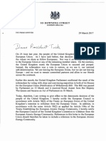 U.K. Prime Minister Theresa May's Letter to European Council President Donald Tusk