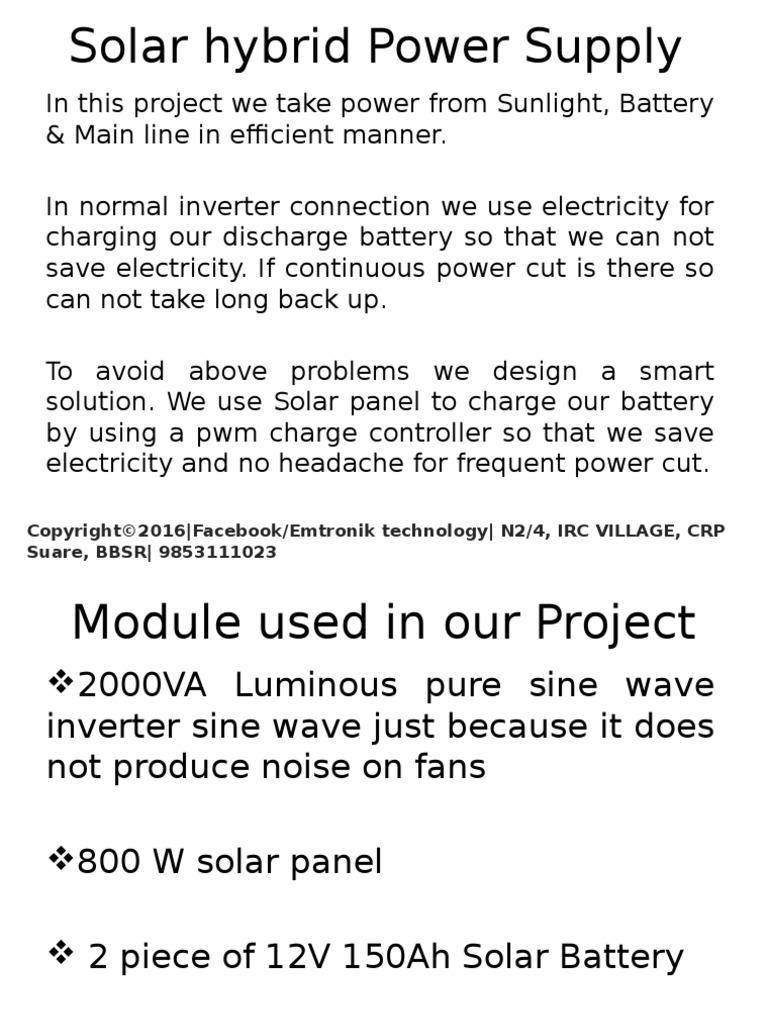Solar Hybrid Power Supply Inverter Electric Current Block Diagram Energy Pinterest