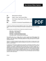 San Antonio Water System Memo of Record - Underwriter Proposal and Pool