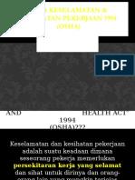 Akta Keselamatan & Kesihatan Pekerjaan 1994